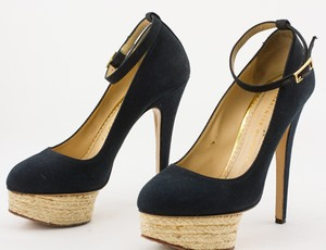CHARLOTTE OLYMPIA Dolores Espadrille Navy Pumps