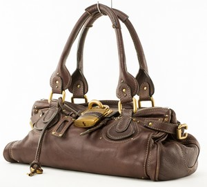 CHLOE Chestnut Paddington Leather Padlock Satchel