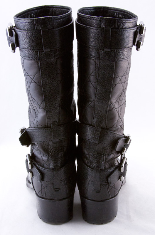 CHRISTIAN DIOR Black leather quilted strappy buckled biker boots ... : quilted biker boots - Adamdwight.com