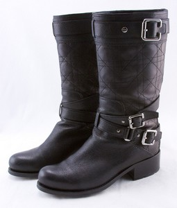 CHRISTIAN DIOR Black leather quilted strappy buckled biker boots size 6 (36)