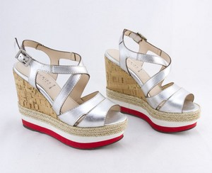 CHUCKIES Silver leather platform cork wedges with red trim size 7 EU 37