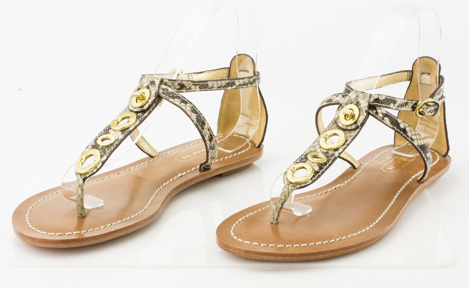 269d1a39d28cb COACH Tan and Brown Snake Skin T-Strap Flat Sandals