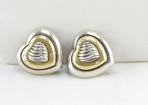 DAVID YURMAN sterling silver heart earrings with 18k gold and diamonds