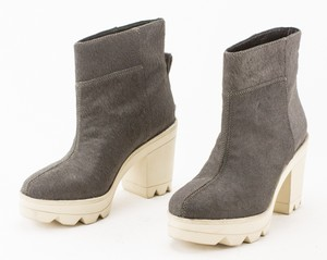 DEREK LAM Gray Dyed Cowhair Chunky Ankle Boots
