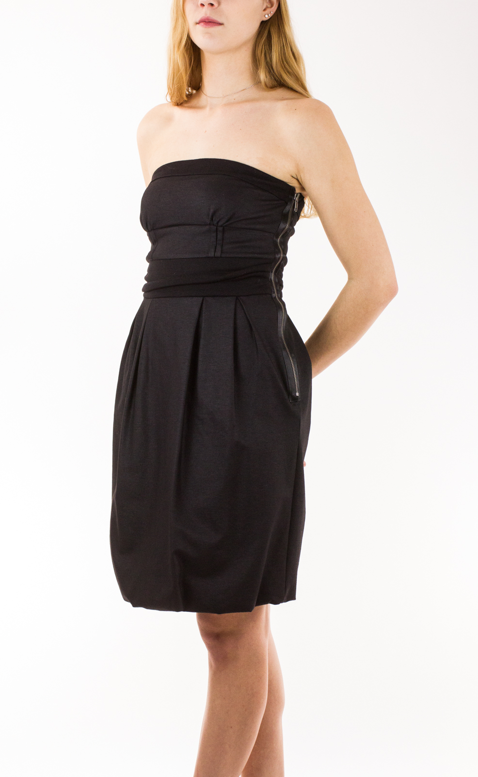 strapless black knee length dress