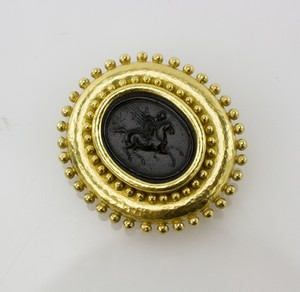 ELIZABETH LOCKE gold and black intaglio horse pin