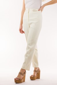 ESCADA Off White Trousers with Gold Hardware Accent