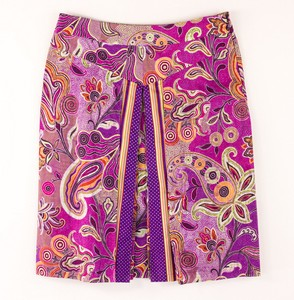 ETRO Purple Paisley Cotton Skirt with Front Pleats