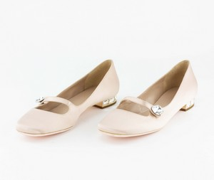 GIAMBA Light Pink Embellished Satin Flats