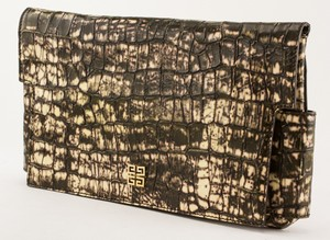 GIVENCHY brown and cream leather stamped crocodile clutch