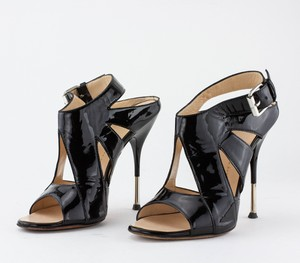 GUISEPPE ZANOTTI Black Patent Leather Cut Out Heels