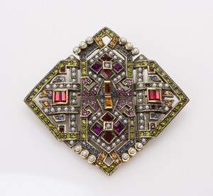 HEIDI DAUS Bronze Diamond Shaped Pin w/ Multicolored Rhinestones & Pearls