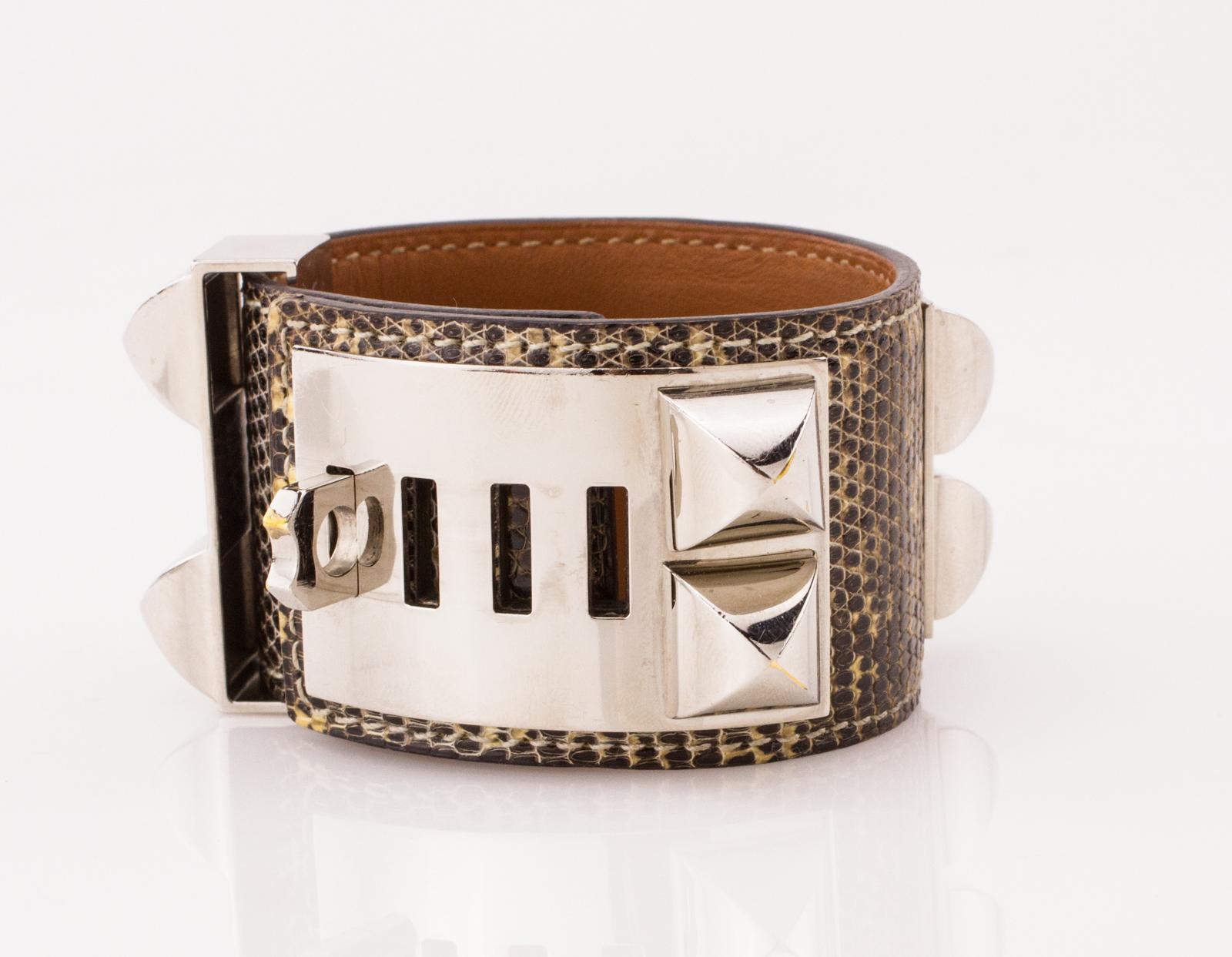Hermes Black And White Lizard Skin Palladium Collier De