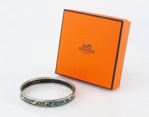 HERMES Blue and Green Horse Narrow Bangle Size 70