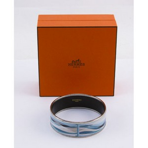 HERMES Blue enamel print wide silver bangle
