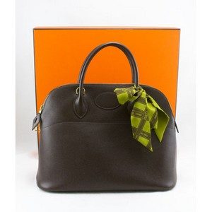 HERMES Brown 35cm epsom gold bolide bag w/twilly & duster