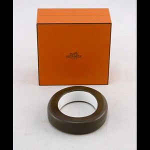 HERMES Brown Bone & Horn Bangle XS Bracelet w/ Box