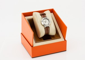 HERMES Brown Leather Watch with Silver Round Face