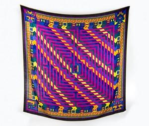 HERMES Cashmere Multi Colored Aztec N. Hidaka Le Fil D'Ariane Design Large Scarf