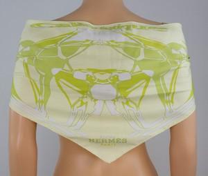 HERMES Light green silk equestrian design scarf