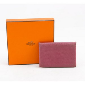 HERMES Light pink Calvi epsom credit card holder case
