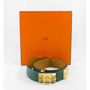 HERMES Malachite Collier De Chien 80cm gold belt NWT retail $2350
