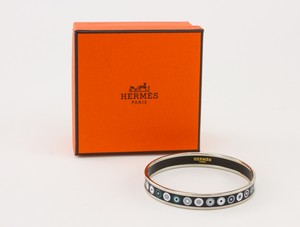 HERMES Palladium Plated Narrow Bangle with Blue Dot Print Size 70