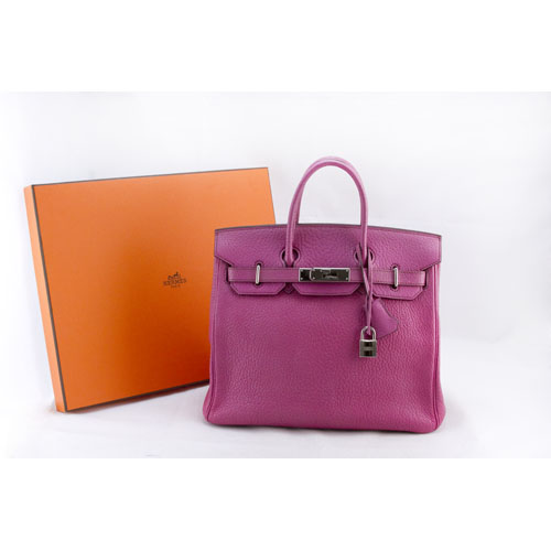 HERMES Pink Birkin 28cm chevre leather bag with duster and clochette