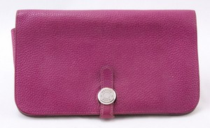 HERMES Pink leather wallet with silver hardware 8 inches long