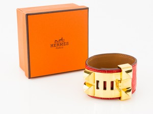 HERMES Red Alligator Skin Gold Collier De Chien Bracelet