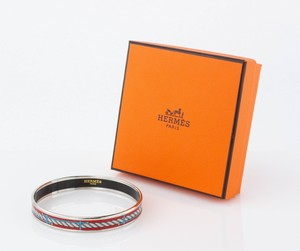 HERMES Red Rope Narrow Bangle Size 70