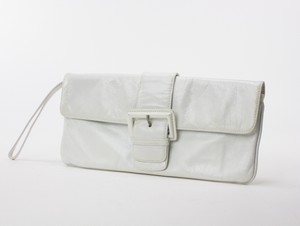 HOBO White Crackled Leather Clutch w/ Buckle Embellished Magnetic Flap