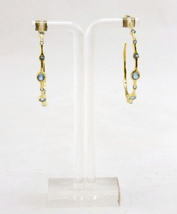 IPPOLITA Blue topaz rock candy large hoop earrings