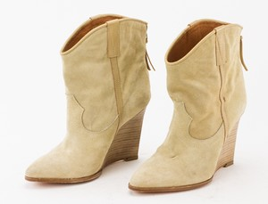 IRO Tan Suede Short Wedge Western Bootie