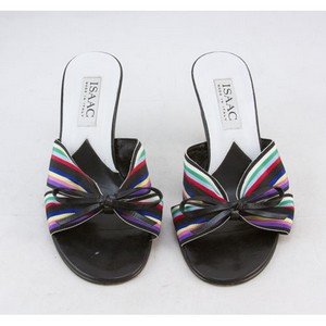 ISAAC Multi color striped cotton heels with bow size 6 EU 36