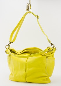 J CREW Yellow Leather Shoulder Bag w/ Adjustable Strap, Side Pockets, & Zip Top