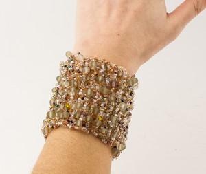 J GOLDGINGER Wide Copper Wire Pastel Stone Bracelet