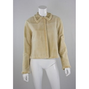 J MENDEL Cream sheared mink collared cropped jacket size 6