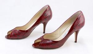 JIMMY CHOO Red patent leather peep toe snakeskin size EU 38
