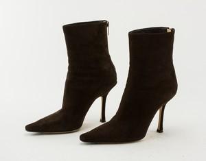 JIMMY CHOO brown suede Lily ankle booties