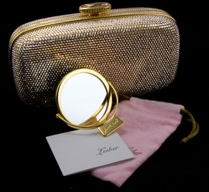 JUDITH LEIBER Gold rhinestone crystal clasp hard clutch with chain and mirror