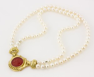 JUDITH RIPKA 18k Carnelian intaglio double pearl strand necklace