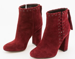 KARL LAGERFELD Maroon Suede Ankle Height Block Heel Booties
