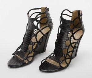 KENNETH KOLE Black Snakeskin Strappy Wedge Sandals w/ Zipper on Heel Size 7.5