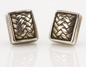 KIESELSTEIN-CORD Sterling silver half-inch clip-on square herringbone earrings