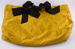 LANVIN Golden yellow satin embroidered tote bag with black ribbon handles