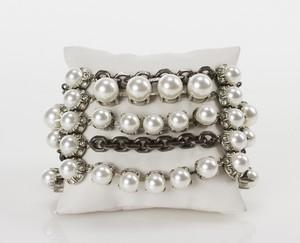 LANVIN Silver 5-Strand Pearl & Chainlink Beaded Cuff Bracelet
