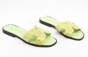 LAURENT EFFEL Green alligator open toe low heel flats size 35 (US 5)