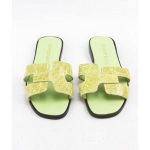 LAURENT-EFFEL-Green-alligator-open-toe-low-heel-flats-size-35-US-5_245981B.jpg