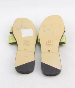 LAURENT-EFFEL-Green-alligator-open-toe-low-heel-flats-size-35-US-5_245981D.jpg